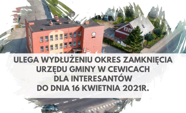 Urząd Gminy Cewice dłużej zamknięty dla interesantów